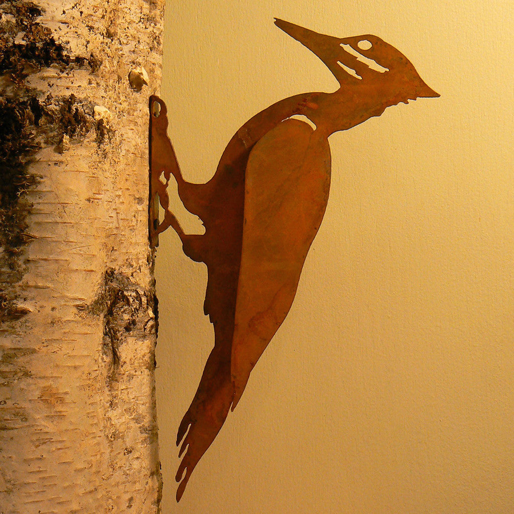 Elegant Garden Design Handmade /Rusted Steel Pileated Woodpecker Silhouette
