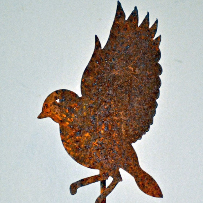 Handmade Rusted Steel Flying Bluebird Silhouette