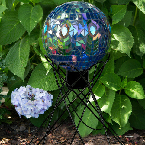 10 IN Translucent Peacock Mosaic Globe
