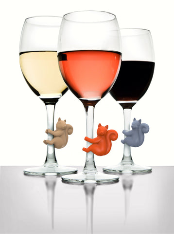 6 Pack Social Climbers Squirrel Wine Charms