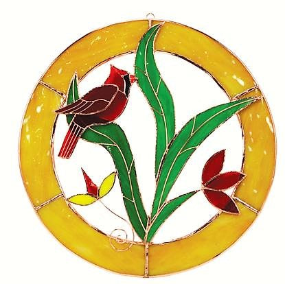 Gift Essentials 13 IN Yellow Framed Cardinal Circle Stained Glass Window Hanging