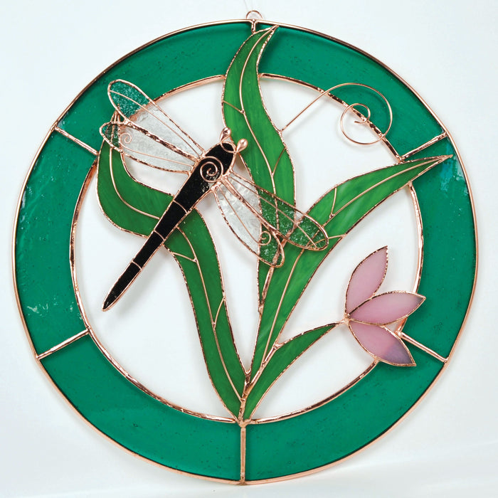 Large Dragonfly Teal Circle Frame Window Panel