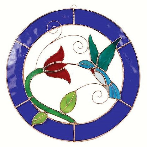 Gift Essentials 13 IN Blue Framed Hummingbird Circle Stained Glass Window Hanging