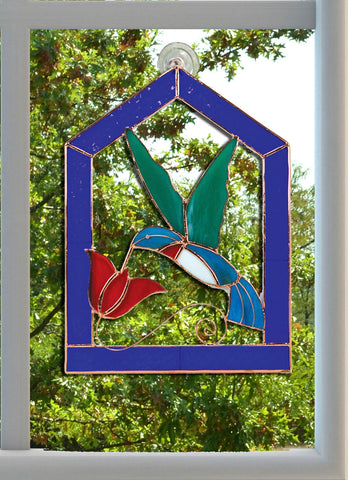 Gift Essentials 11 IN x 14 IN Blue Steeple Framed Hummingbird Stained Glass Window Hanging