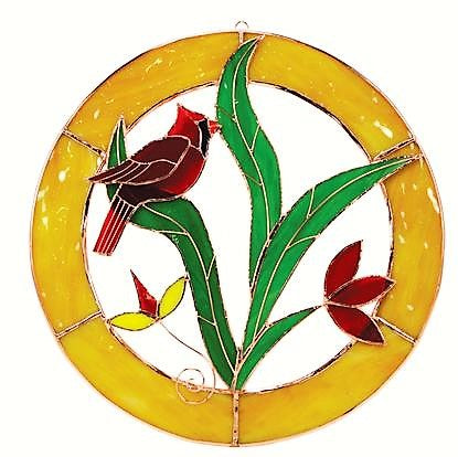 Gift Essentials 8 IN Yellow Framed Cardinal Circle Stained Glass Window Hanging