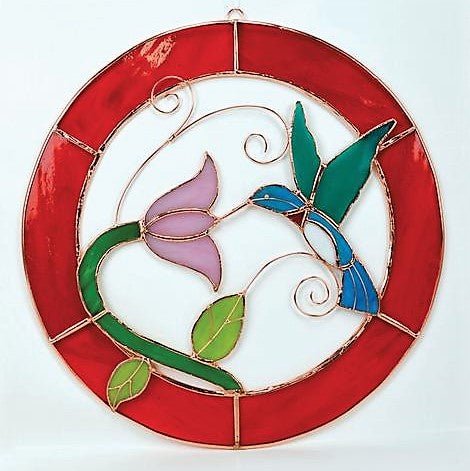 Gift Essentials 8 IN Red Framed Cardinal Circle Stained Glass Window Hanging