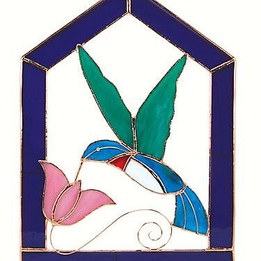 Gift Essentials 8 IN x 6.7 IN Purple Steeple Framed Hummingbird Stained Glass Window Hanging