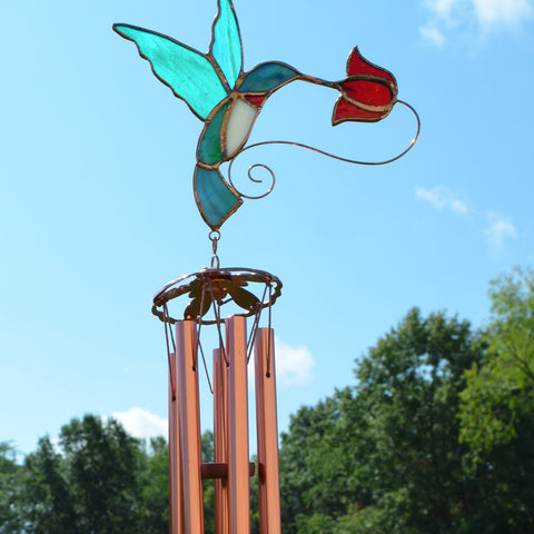 Hummingbird with Red Flower Wind Chime