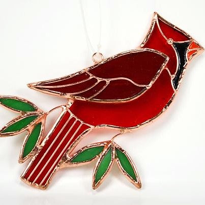 Gift Essentials 4 IN x 6.7 IN Cardinal Stained Glass Window Hanging