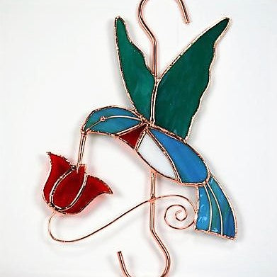 Gift Essentials 10 IN Hummingbird And Red Flower With Hook Stained Glass Hanging