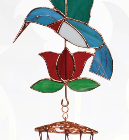 Hummingbird with Red Flower Large Wind Chime