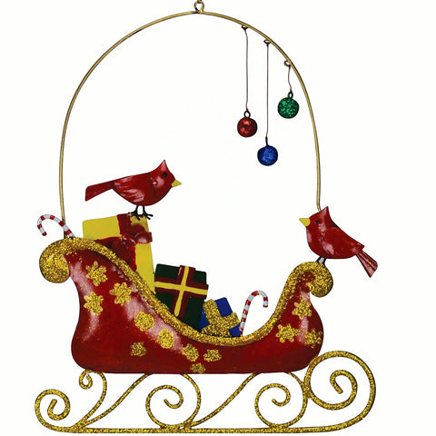 Cardinals & Ornaments on a Sleigh Holiday Wall Decor