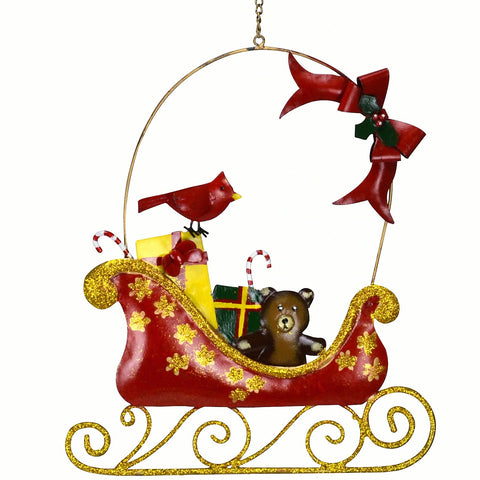 Cardinal & Bow Sleigh Holiday Wall Decor