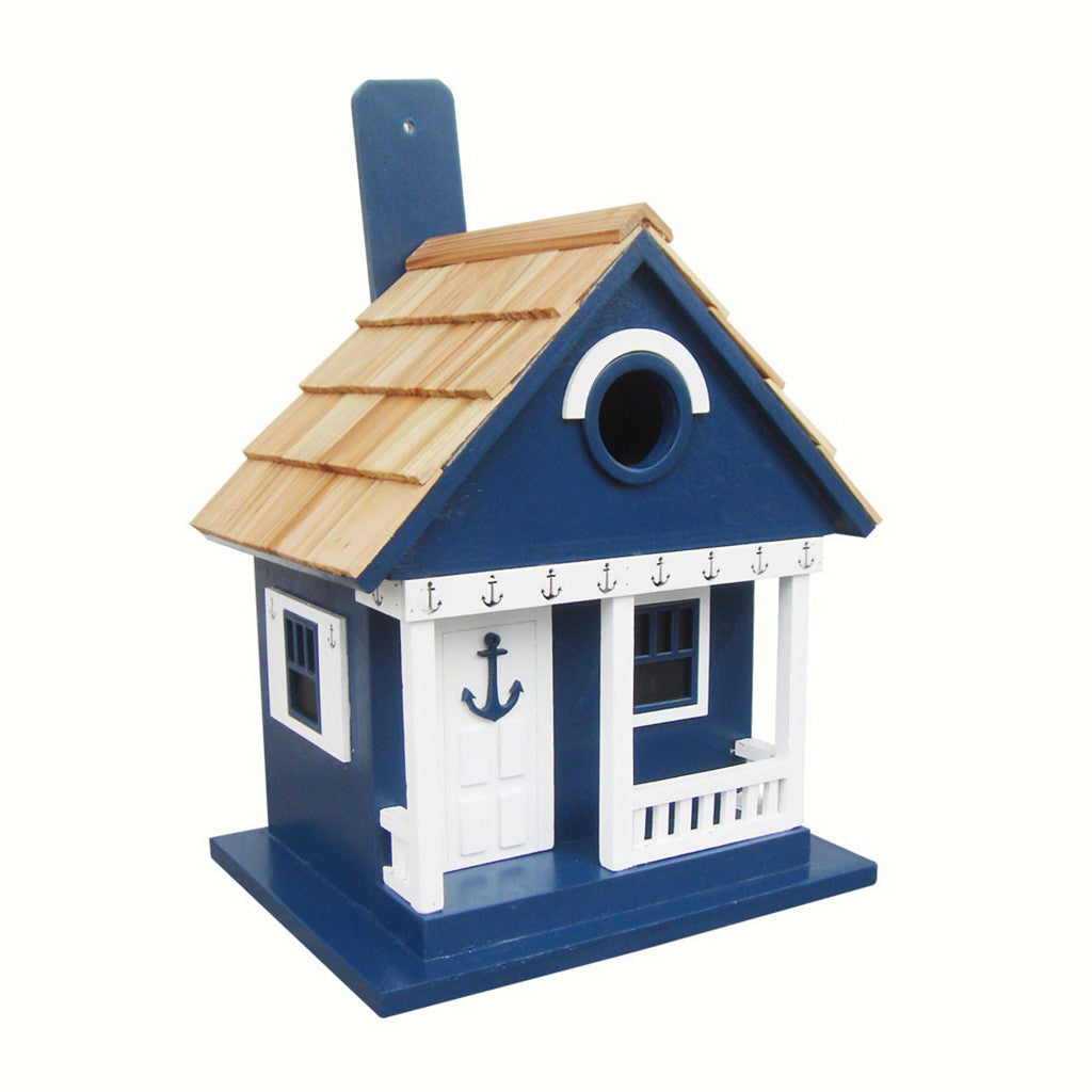 Home Bazaar 9.5 IN x 8.25 IN x 6.5 IN Navy Anchor Cottage 1.25 IN Hole Bird House