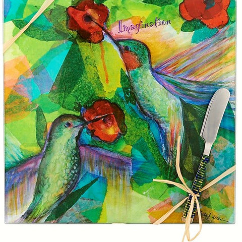 9 IN x 9 IN Square Glass Bird Imagination Cheese Board