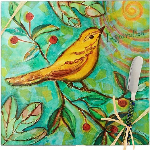 9 IN x 9 IN Square Glass Bird Inspiration Cheese Board