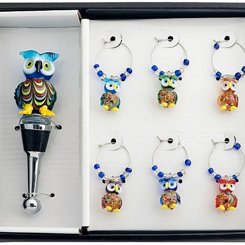 Owl Stopper and Wine Charm Set