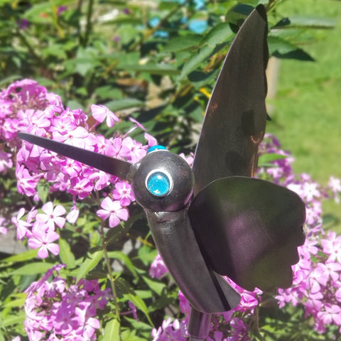 Handcrafted Heavy Gauge Metal Hummingbird Yard Art