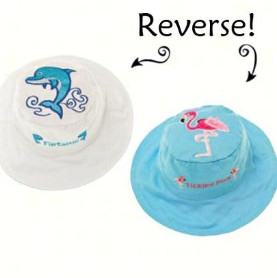 Small Dolphin/Flamingo Reversible Kids Hat