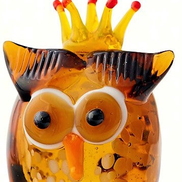 Milano Art Owl With Crown Glass Animal