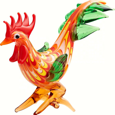 Milano Art Red-Orange Rooster Glass Animal