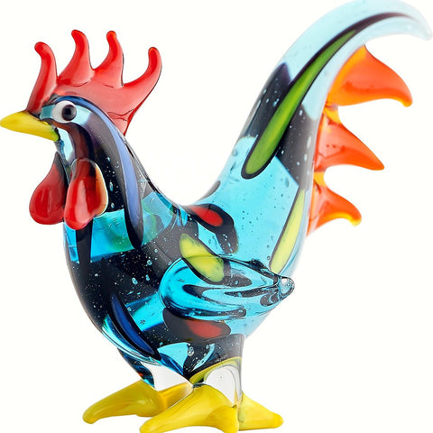 Milano Art Blue Rooster Glass Animal