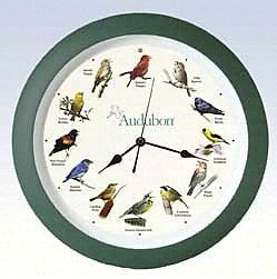 13 IN Green Audubon Singing Clock