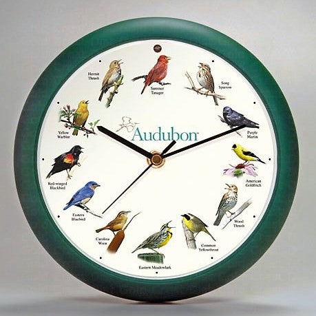 8 IN Green Audubon Singing Clock