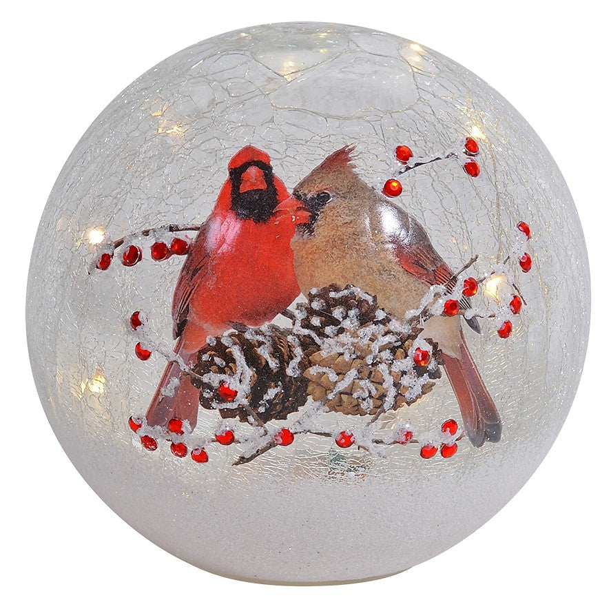 7 IN Cardinal Pair LED Crackle Glass Holiday Globe