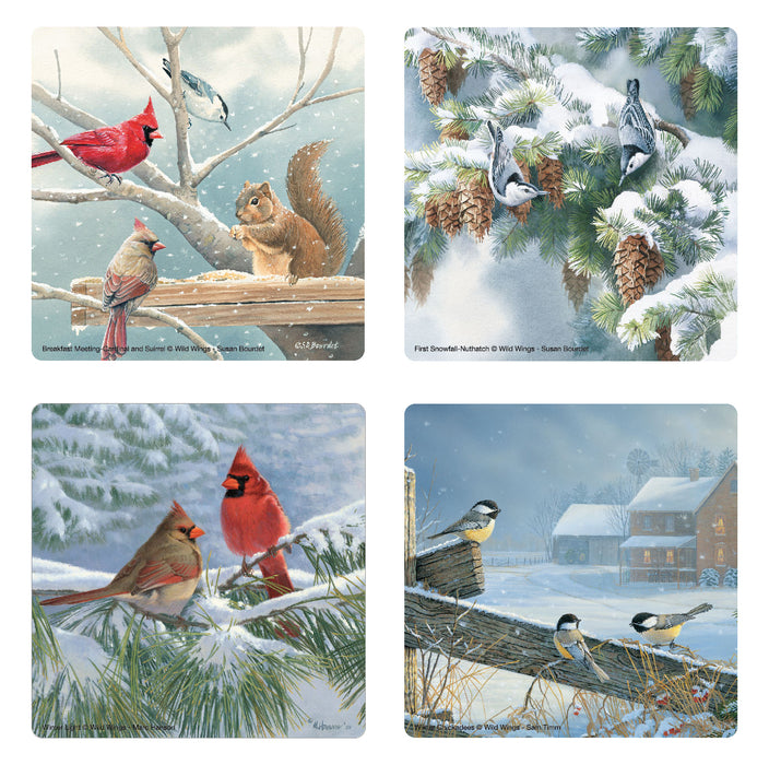 Winter Birds Glass Coasters - Set of 4