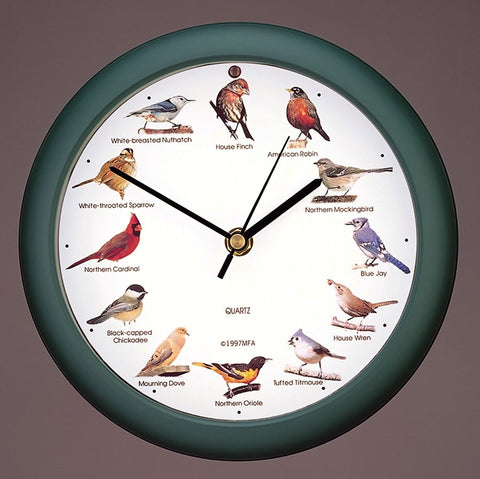 8 IN Green Original Singing Bird Clock