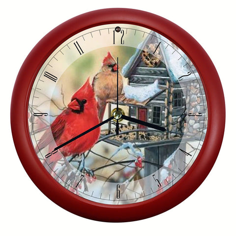 Rustic Cardinals 8 inch Sound Clock