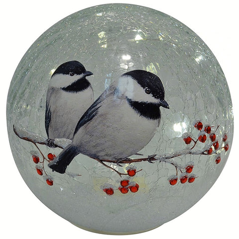 7 IN Chickadee LED Crackle Glass Globe
