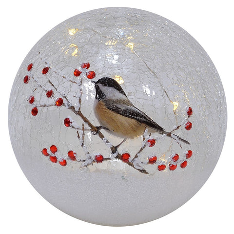 6 IN Chickadee LED Crackle Glass Holiday Globe
