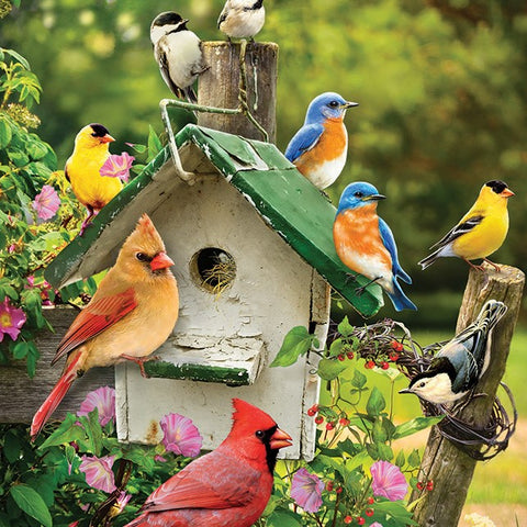 35 Piece Singing Around the Birdhouse Tray Puzzle