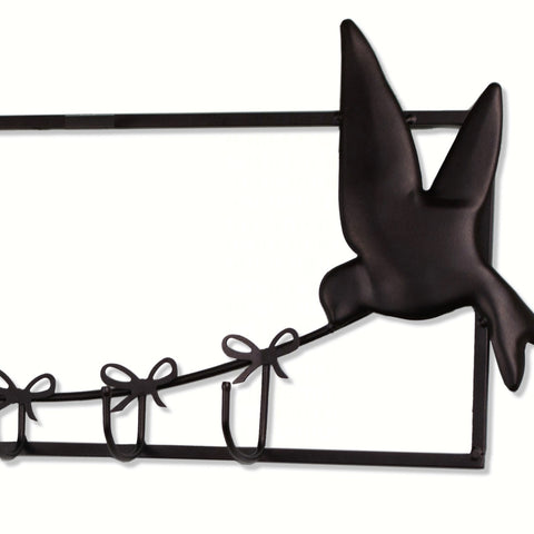 6 Hook Bird Design Wall Hook Rack