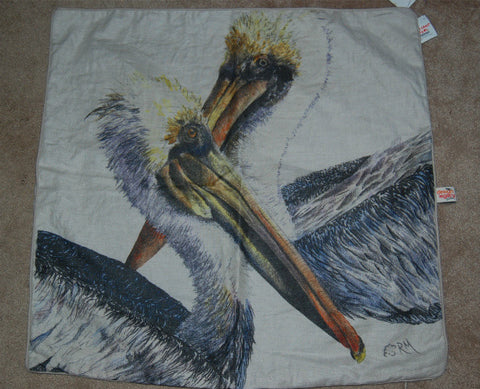 Design Legacy 26 IN x 26 IN Pelicans Print Linen Pillow Cover - On Clearance ONLY 1 Available