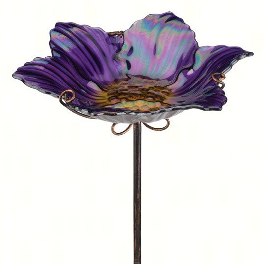 Purple Glass Birdbath with Stake