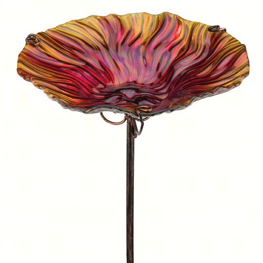 Red Glass Birdbath with Stake