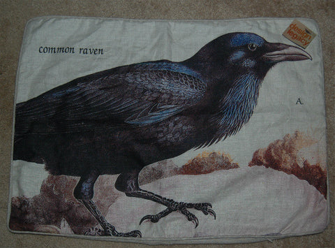 Design Legacy 17 IN x 24 IN Common Raven Print Linen Pillow Cover -  On Clearance ONLY 1 Available