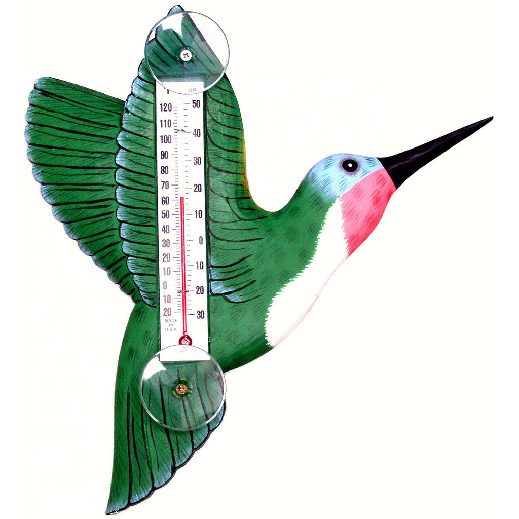 Songbird Essentials Small Green Hummingbird Window Thermometer