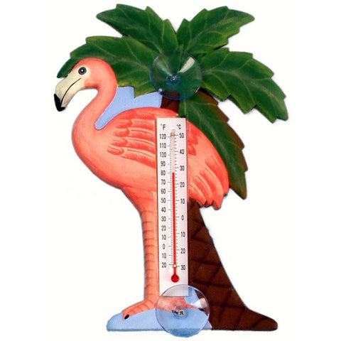 Songbird Essentials Small Flamingo And Palm Tree Window Thermometer