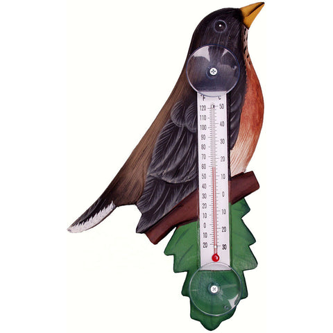 Songbird Essentials Small Robin On Branch Window Thermometer