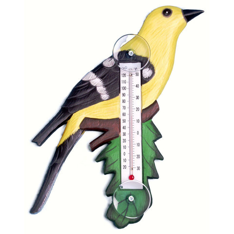 Songbird Essentials Small Goldfinch On Branch Window Thermometer