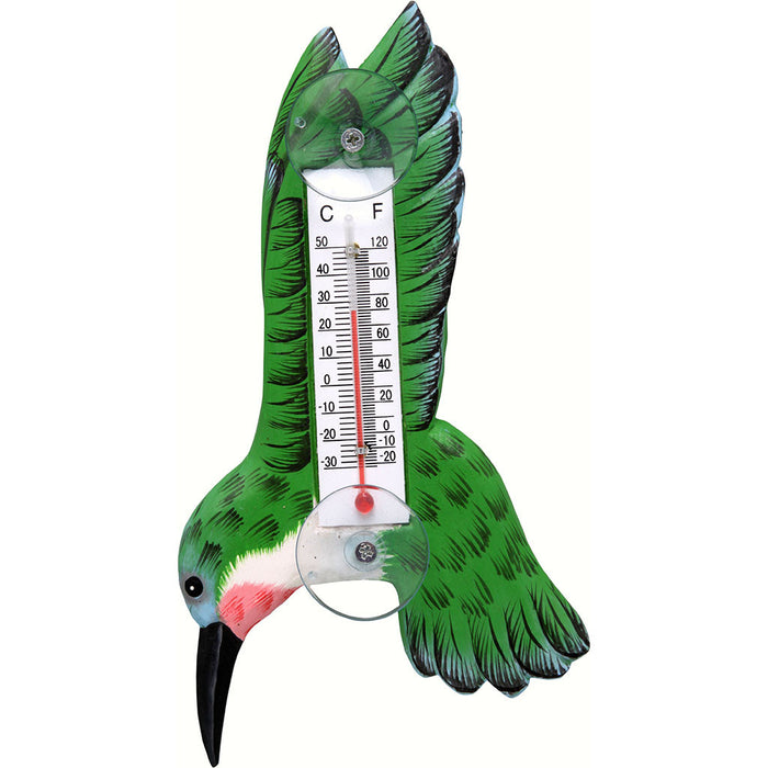 Songbird Essentials Small Hummingbird With Wings Up Window Thermometer