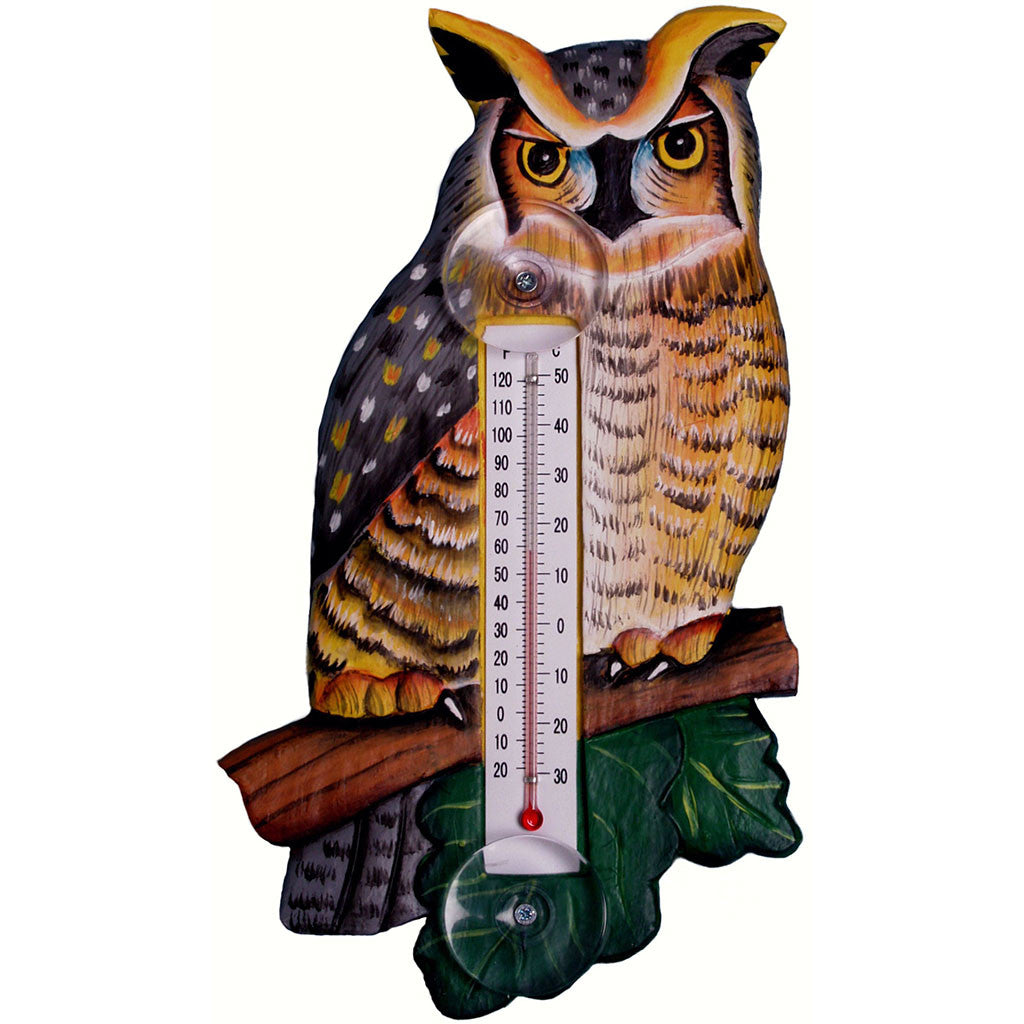 Songbird Essentials Small Great Horned Owl Window Thermometer