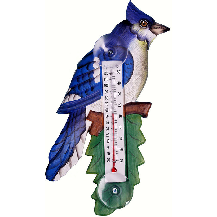Songbird Essentials Small Blue Jay On Branch Window Thermometer