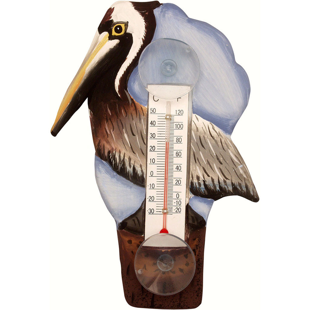 Songbird Essentials Small Brown Pelican On Pier Window Thermometer