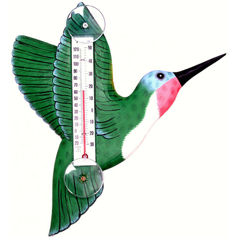 Songbird Essentials Large Green Hummingbird Window Thermometer