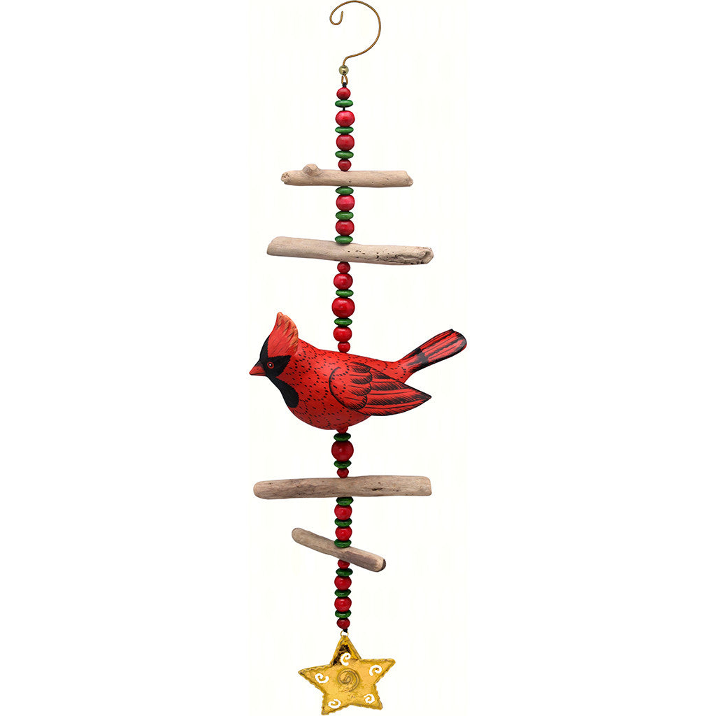 Songbird Essentials Cardinal Hand Carved and Painted Driftwood Sculpture
